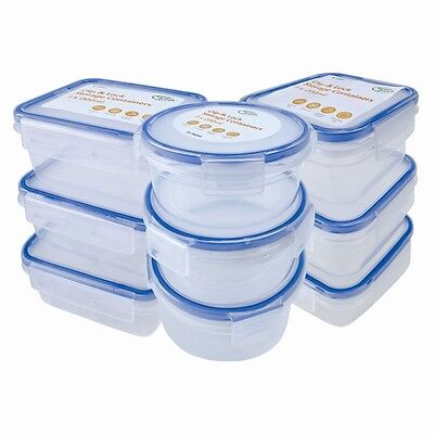 9 x Clip & Lock lids Containers Storage Plastic Boxes Fresh Food Pack Lunch