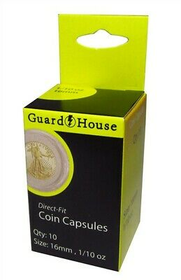 10 Guardhouse 16.5mm 1/10 oz Gold Eagle Round Direct Fit Coin Capsules holders