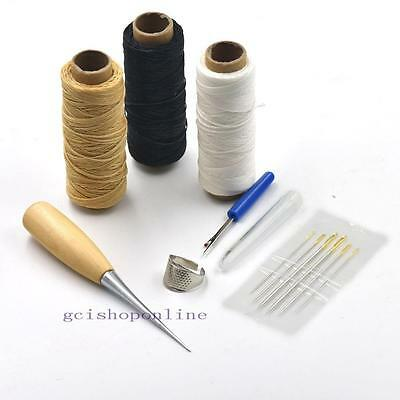 5 Sewing Tools Leather Carft Needles Awl waxed Thread thimble ring Seam Ripper