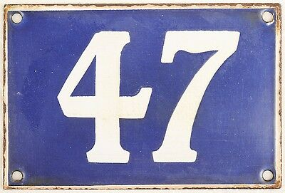 Old blue French house number 47 door gate plate plaque enamel metal sign steel • CAD $53.35