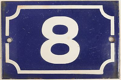 Old blue French house number 8 door gate plate plaque enamel metal sign steel