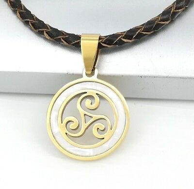 Gold Celtic Triskelion Triskele Pearl Pendant Brown Braided Leather Necklace