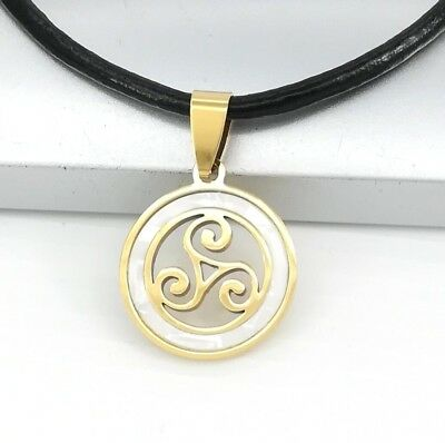 Gold Triskelion Triskele Spiral Pearl Celtic Pendant Black Leather Cord Necklace