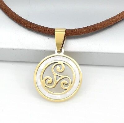 Gold Triskelion Triskele Spiral Pearl Celtic Pendant Brown Leather Cord Necklace