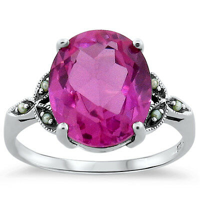 7 Ct Pink Lab Sapphire Antique Victorian Style .925 Silver Ring Size 9,     #237