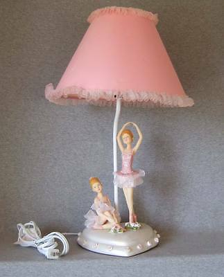 Ballerina table lamp w/shade~2 ballerinas on heart shaped base~working fine