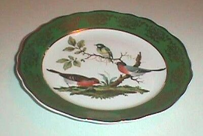 Limoges Bird Design Plate Green and Gold Outer Rim w/Three Pretty Birds Center