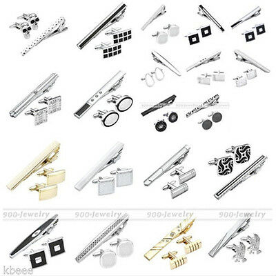3pc Men's Stainless Steel Necktie Tie Clip Clasp Bars Pin + Cufflinks Gift Set