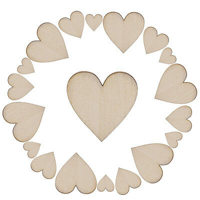 100X Unfinished Wooden Love Heart Shape Weddings Plaques Art Craft Embellishment