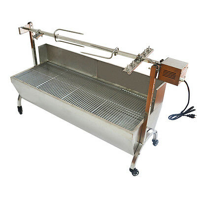 """53"""" Large Stainless Steel BBQ,Pig,Lamb,Goat,Chicken Spit Roaster,Rotisserie Spit"""