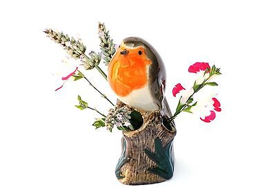 Robin Small Bud Flower vase Garden Song Bird by Quail pottery  Gift Boxed NEW
