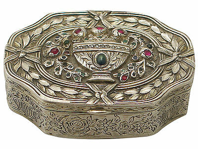 Antique French Silver, 0.69ct Ruby, Sapphire and Emerald Box - Circa 1880