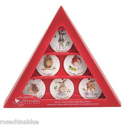 Wrendale Designs Christmas Boxed Set Of 6 Mixed Ceramic Tree Decorations