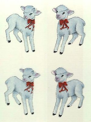 "12 White Lamb Red Ribbon 1"" Waterslide Ceramic Decals Bx"