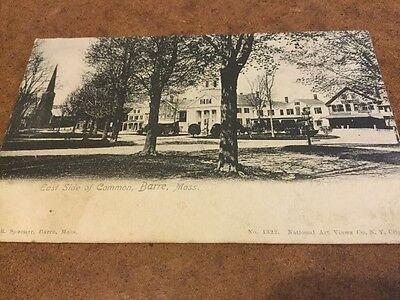 Old Postcard East Side Of Common Barre Mass