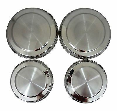 4 Stainless Steel Metal Silver Chrome Electric Cooker Hob Ring Cover Lid Set