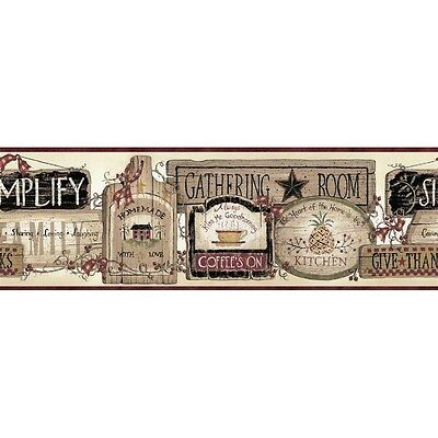 Folk Art Kitchen Inspirational Signs Easy Walls Wallpaper Border SM20061B