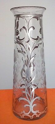 Art Nouveau Flower Vase Crystal with Silver Overlay circa 1905 RARE