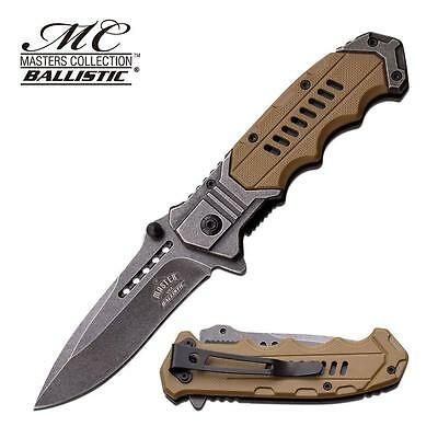 Master USA Spring Assisted Blade Tactical Desert Tan Rescue Folding Pocket Knife