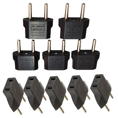 10PCS US USA to EU Euro Europe AC Power Plug Converter Travel Adapter Charger