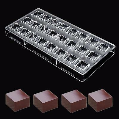24 Square Shaped Clear Polycarbonate Chocolate Cake Candy Pudding Mold Mould