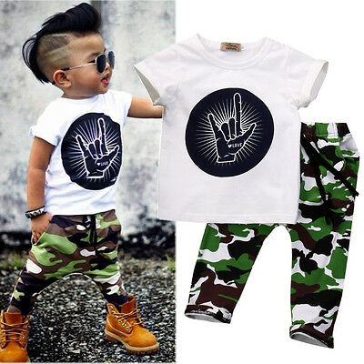 Stylish Infant Baby Kids Boys Clothes Tops T-shirt Camouflage Pants Outfits Sets