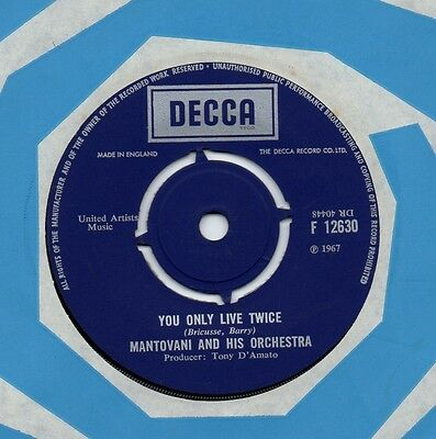 MANTOVANI you only live twice*puppet on a string 1967 UK DECCA 45