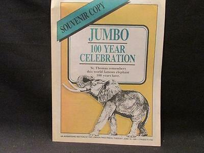 St Thomas Remembers Jumbo the Elephant 100 Years Later 1985 Booklet