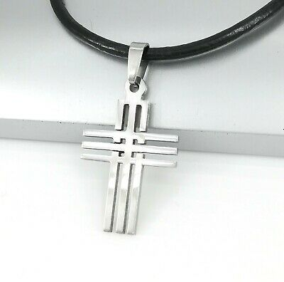 Silver Stainless Steel Matrix Cross Pendant Black Leather Surfer Tribal Necklace