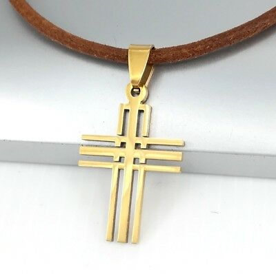 Gold Stainless Steel Matrix Cross Pendant Brown Leather Tribal Necklace NEW