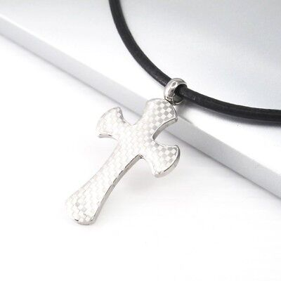 Silver Stainless Steel Square Cross Pendant 3mm Black Leather Tribal Necklace