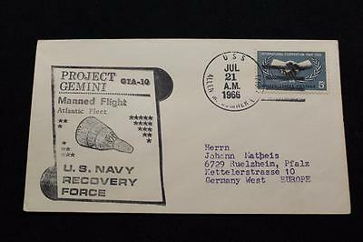 Naval Space Cover 1966 Gemini Gta-10 Recovery Ship Uss Sumner (Dd-692) (2317)