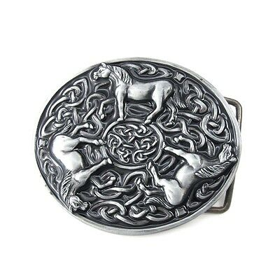 Vintage Silver Alloy Irish Celtic Knot Three Horses Animals Tribal Belt Buckle