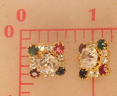 """2 little Czech square gold metal shank buttons clear multi color rhinestone 1/2"""""""