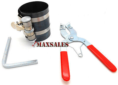 2pc Piston Ring Compressor Ratchet Style and Piston Ring Installer Pliers