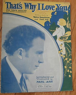 That's Why I Love You Paul Ash Sheet Music 1926