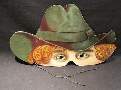 Paper Mask Vintage Black Hat with Curly Hair Cut-out Eyes & String Ties