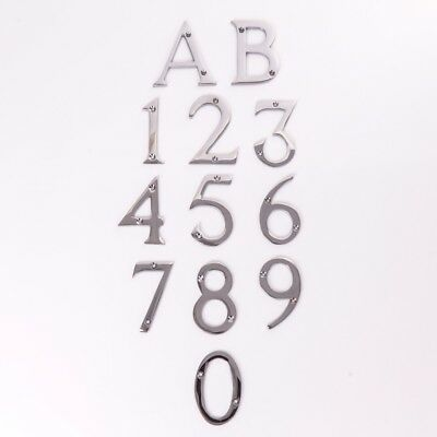 CHOOSE 0-9 SILVER CHROME NUMBER/LETTER A/B House/Front Door/Building Numeral 3""