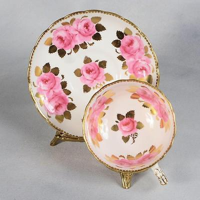 Royal Chelsea Teacup & Saucer - White With Pink Roses & Gilded Leaves