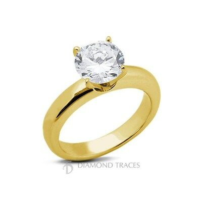 2.08ct G-I1 Ideal Round Certified Diamond 14k Gold Classic Solitaire Ring 3mm