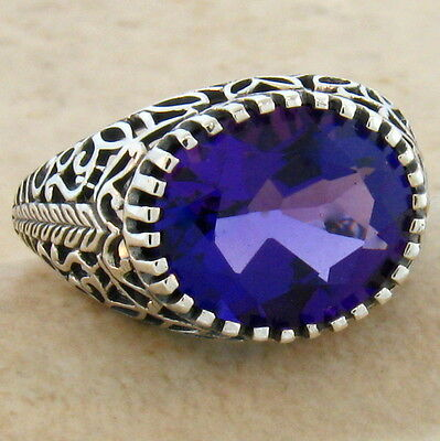 3.5 Ct. Lab Amethyst Antique Design .925 Sterling Silver Ring Size 9,      #294
