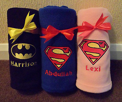Batman / Superman Personalised Baby Fleece Blanket Embroidered Newborn Gift