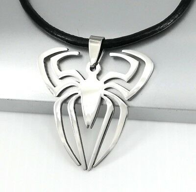 Silver Stainless Steel Spiderman Spider Pendant Black Leather Surfer Necklace