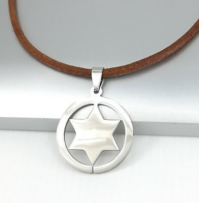 Silver Texas Ranger Star Stainless Steel Pendant 3mm Brown Leather Necklace NEW