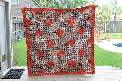 Gorgeous Antique Ocean Waves Quilt Red And Blue