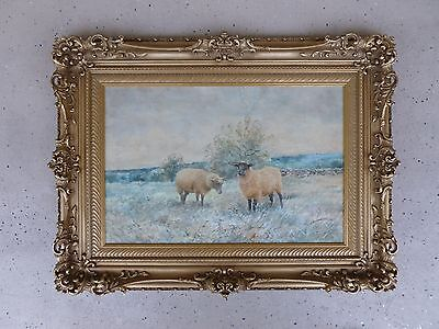 19Th C / 20Th C American William Derrick Pastoral Watercolor Painting Of Sheep
