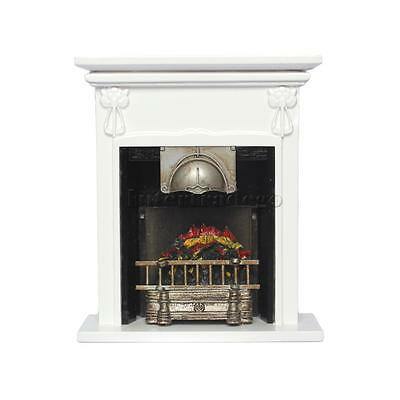 Wooden 1/12 Dollhouse Toy Accessory Doll House Miniature Fireplace w/ Fire