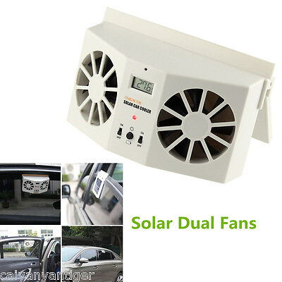 Solar Powered Car Window Windshield Auto Air Vent Cooling Dual Fan System Cooler