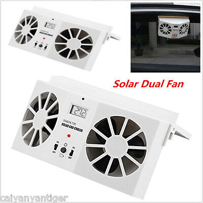 Dual Fan Solar Powered Car Window Windshield Auto Air Vent Cooling Dual Fan Cool
