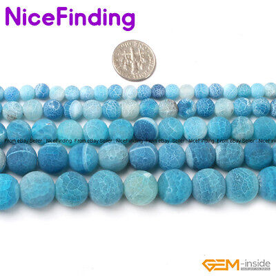 Wholesale Lot Blue Frost Matte Agate Stone Beads For Jewelry Making 6-14mm 15''